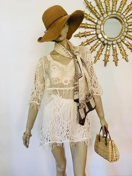 Vestido Zara, Rapsodia, De Encaje Hilo Crochet