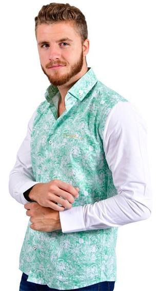 Camisa Porto Blanco Caballero 100% Algodón Verde Menta E-526