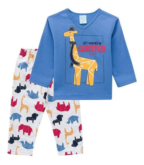 Pijama Infantil Moletom Girafa Azul - Kyly