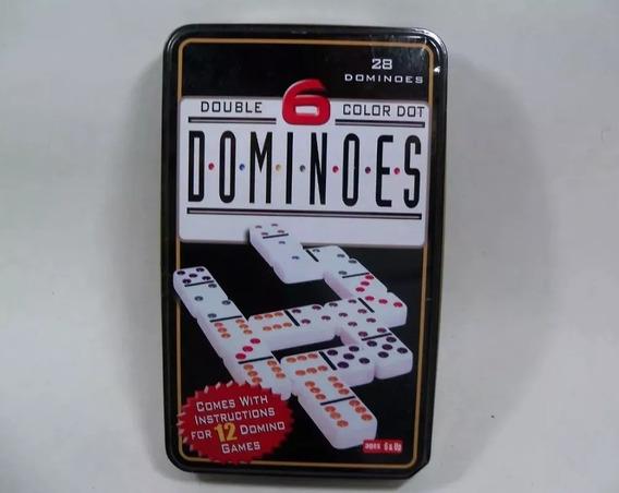 Jogo Dominó Importado 28 Pçs Coloridas Double 6 Dominoes
