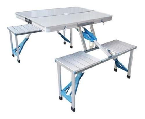 Set Camping.mesa Plegable + 4 Asientos Aluminio