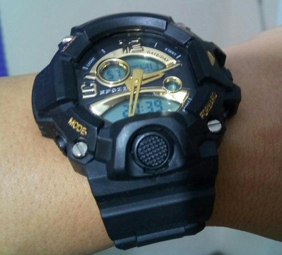 Relógio Militar S Shock Led Digital Prova Dágua Preto & Ouro