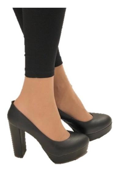 Zapato Mujer Clasico Negro Con Taco Plataforma Alto Cuadrado