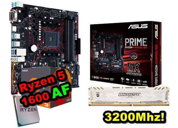 Kit Ryzen 5 1600 Af + B450 + 8gb 3200mhz - 1600af + B450m