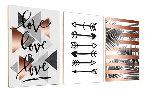 Kit 3 Placas Decorativas Quadros Palmeira Rose Flechas Love