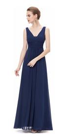 Vestido Fiesta Largo Azul Gasa Tall 6 8 10 12 14 18 Ep 46