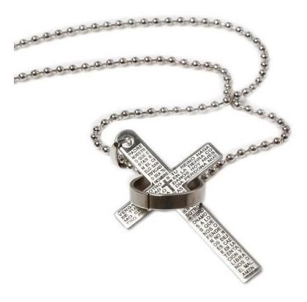 Colar Cruz Pai Nosso Oração Em Espanhol Prata