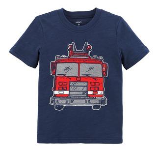 Carters Remera Bebé Nenes Camión De Bomberos Texturado