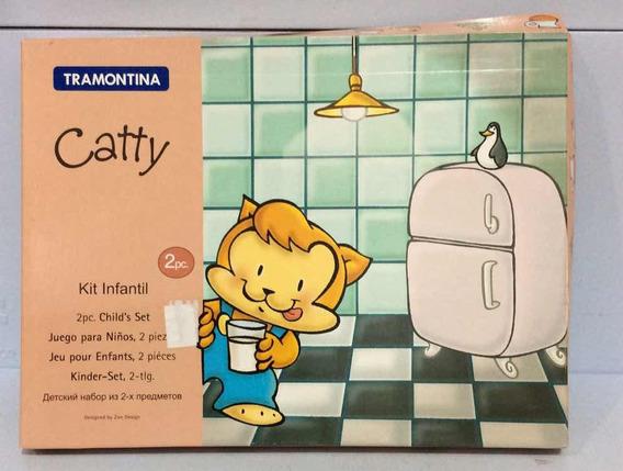 Tramontina Catty Kit Infantil Aço Inox 2 Pcs Ref 64250-930
