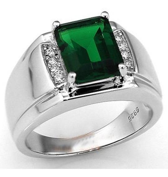 Anel Masculino Banho Prata Elegante Pedra Verde Esmeralda