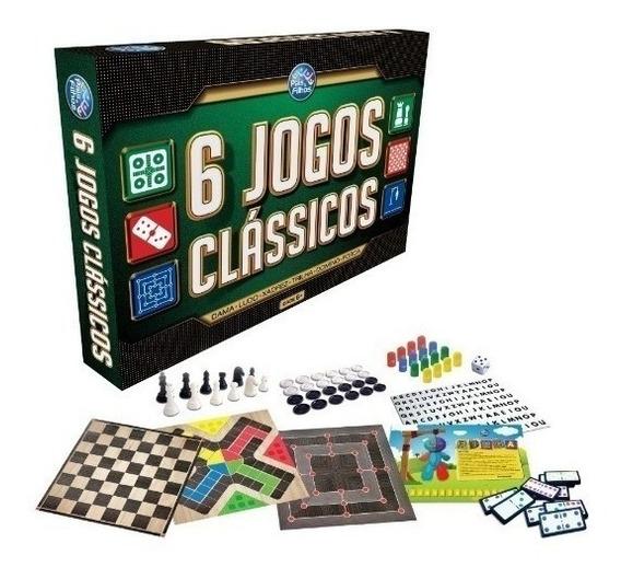 Jogo 6 Em 1 Classicos - Dama Ludo Xadrez Trilha Domino Forca
