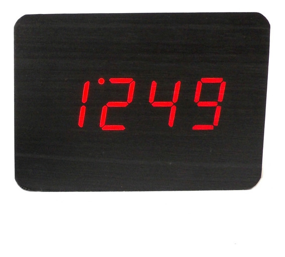 Reloj Despertador Digital Con Temperatura De Madera Moderno