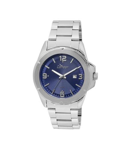 Kit Relógio Condor Masculino Prata Fundo Azul - Co2115xek3a