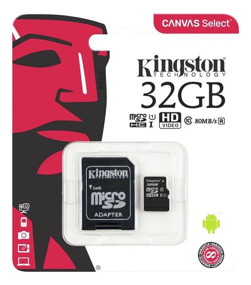 Cartão Memória Kingston 32gb Class 10uhsi Micro+adap Sdcs/32