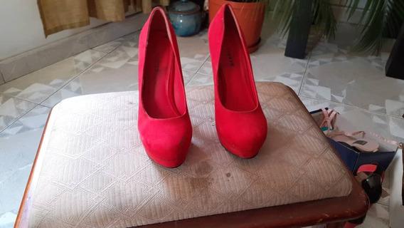 Zapatos De Vestir Gamuza Rojos Talla 39