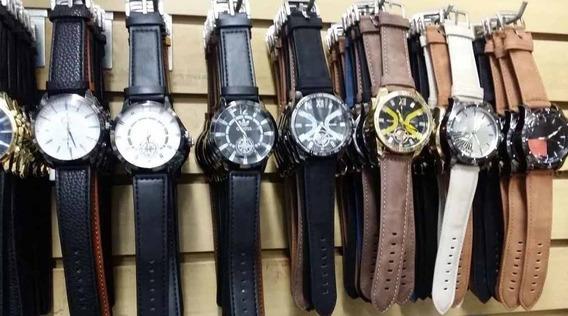 Kit Com 4 Relógios Masculino Pulseira De Couro Atacado Top