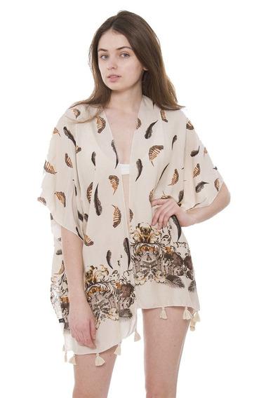 Achillea Boho Kimono Chaqueta Blusa Top Verano Noche Encu