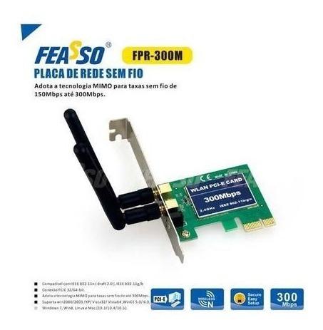 Placa Wireless Pci-express Com 2 Antenas Feasso Cod. Fpr-300
