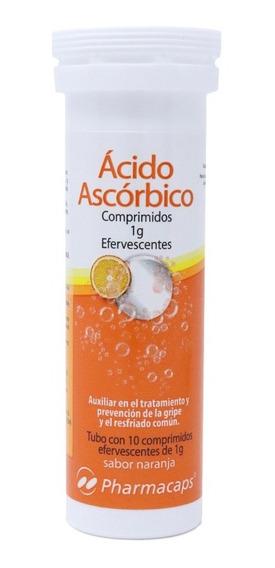 Vitamina C. Ácido Ascórbico Efervescente 1gr C/10 Tabletas