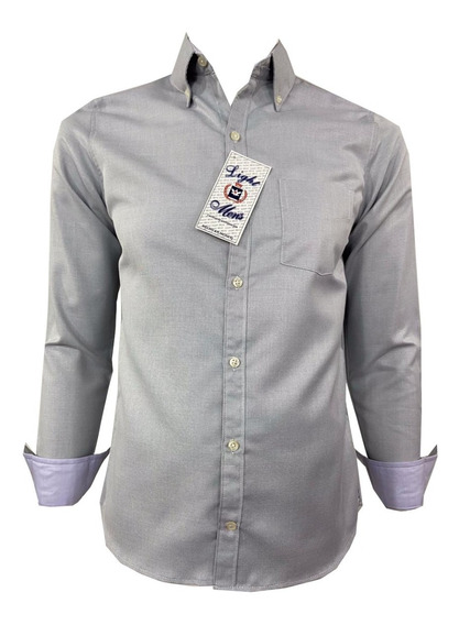 Camisa Corte Recto Manga Larga De Hombre