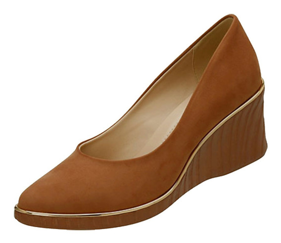 Sapato Feminino Anabela Azaleia Camurça Ambar