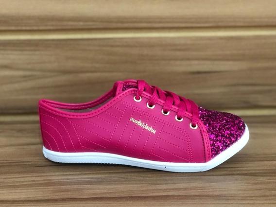 Tênis Molekinha Napa/maxx Gliter Glamour - Pink/multi Pink