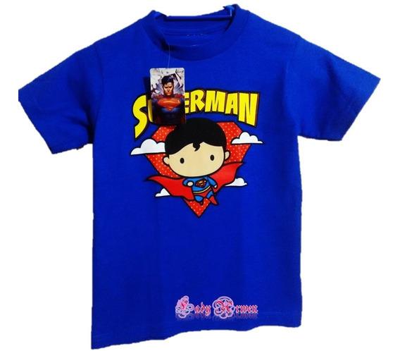 Playera Manga Corta Dc Niñ@ Superman Personaje Algodón Azul