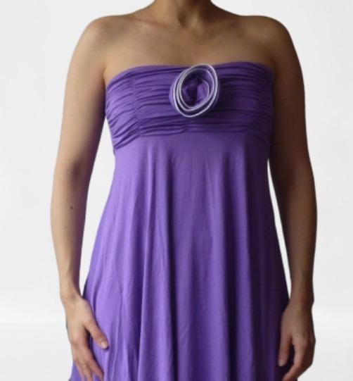 Vestido Corto Juvenil Femenino Strapless Color Morado