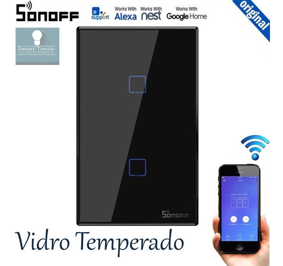 Sonoff Rf Interruptor Touch Wifi 2 Vias App Android / Ios - Compatível Com Google Home / Alexa - Promoção - Lançamento