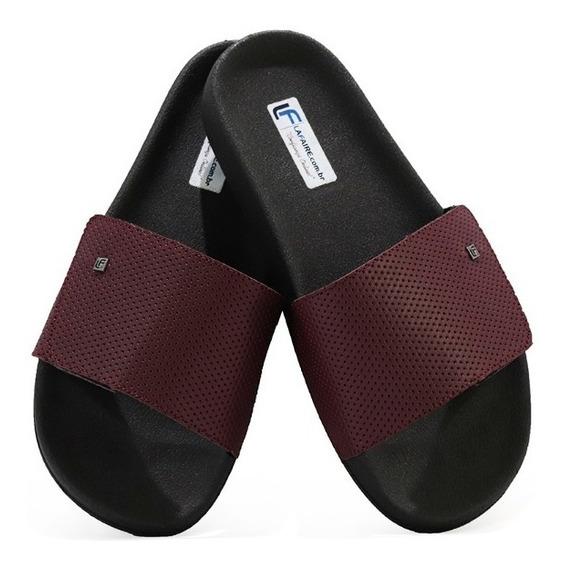 Chinelo Slide Masculino Velcro Ajustável Casual Estilo Preto