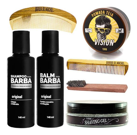 Shampoo + Balm + Pomada + Shaving Gel Barbas Curtas E Longas