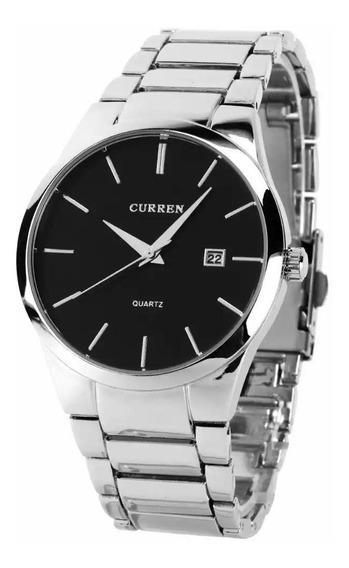 Relógio Masculino Prata Aço Inoxidável Curren Casual 8106