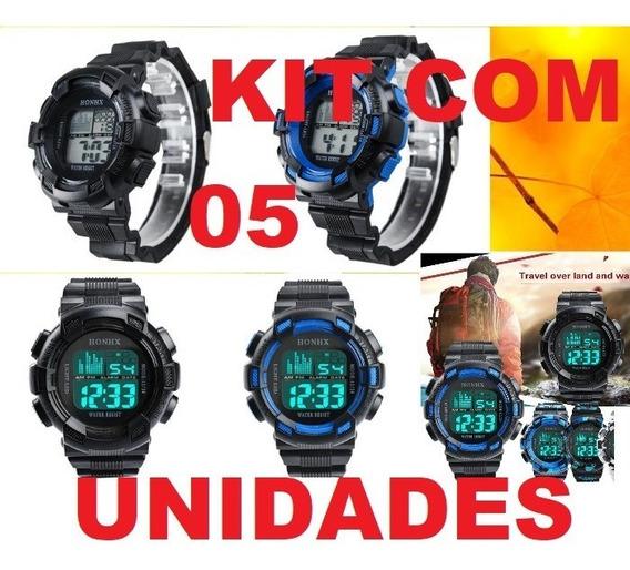 Kit C/ 5 Unidades Relógio Esportes/ Militar Digital Honhx