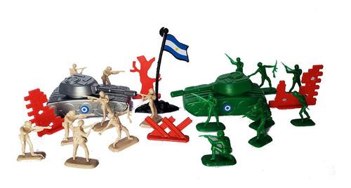 Set Soldaditos De Plastico Tanques Y Bandera Arg 19 Piezas