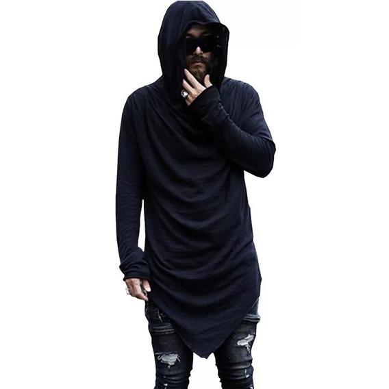 Camisa Oversized Swag C23 Manga Longa Gola Capuz Barra Em V