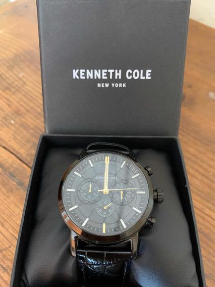 Reloj Kenneth Cole Negro Correa De Cuero Para Caballero