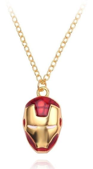 Collar Casco De Iron Man Rojo Con Dorado