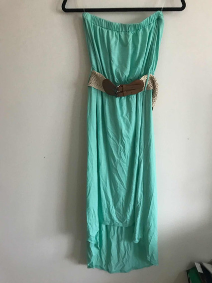 Vestido Planet Gold Aqua Con Cinto Preloved Luxury