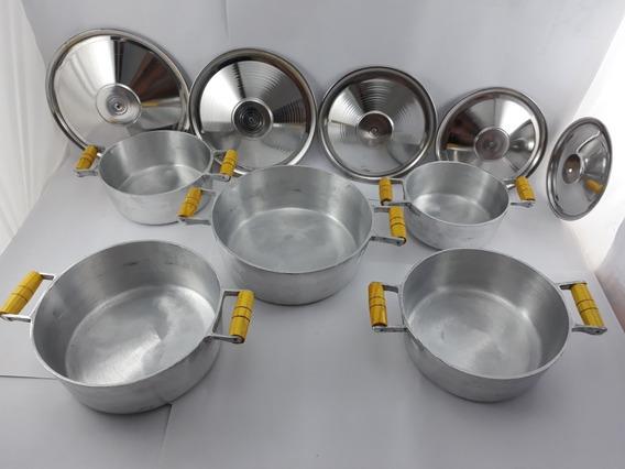 Jogo De Panelas Grossas Alumínio Batido Fundido Num 18ao26