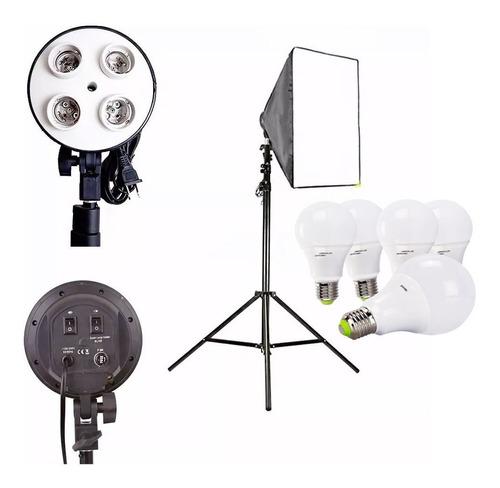 Imagem 1 de 1 de Kit Softbox E27 Quadruplo 4 Lampada Tripé 2m Ideal Youtubers