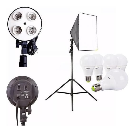 Kit Softbox E27 Quadruplo 4 Lampada Tripé 2m Ideal Youtubers