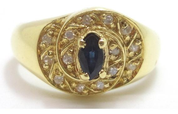 Anel Ouro 18k Diamantes E Safira Naturais