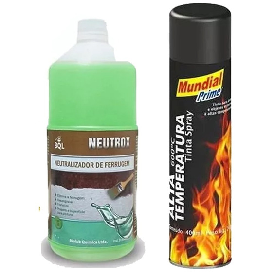 Kit Neutralizador De Ferrugem + Tinta Spray Alta Temperatura