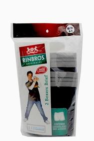 Paquete C/ 2 Boxers Brief Tipo Trusa Niño Rinbros Negro Gris