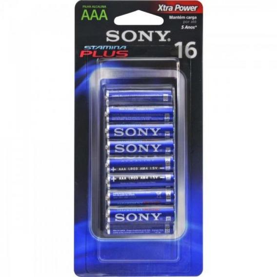 Pilha Sony Alcalina Aaa Nc Am4-b16d (cartela Com 16 Unid.)