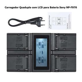 Carregador Quaduplo Lcd Bateria Sony Np-f970, F750, F550