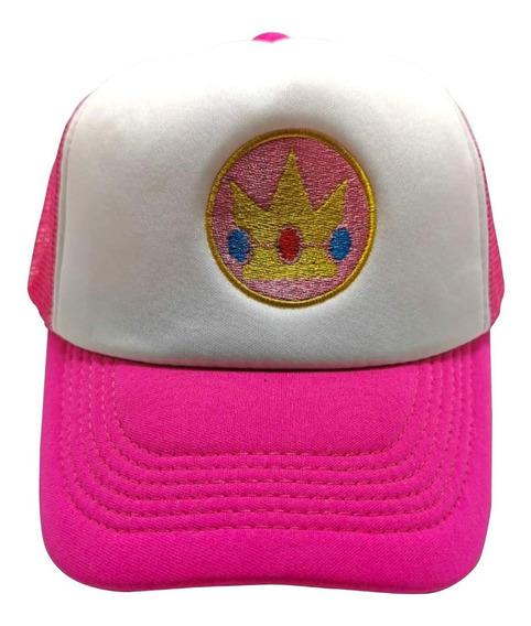 Gorra Trucker Mario Bros. Princesa Peach Corona Rosa Niños