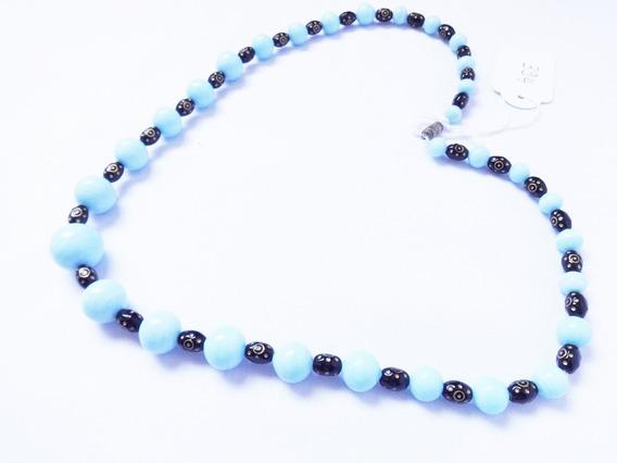 Colar Vintage Francês Pedras Contas De Vidro Azul E Preta