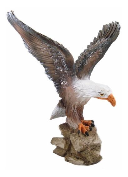 Águia Grande Asas Abertas Estatua Decoração 34,5 Cm.