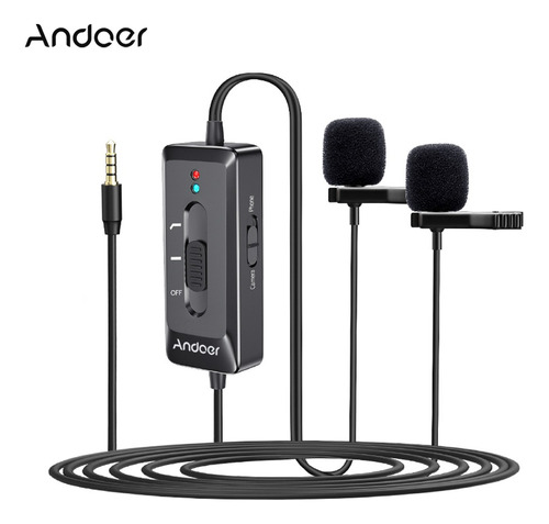 Andoer Ad-m2 Pro Clip-on Microfone De Lavalier Com
